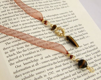 Jeweled Ribbon Bookmark, Tiger Eye Semi Precious Stones, Rust Organza Ribbon, Golden Wire Wrapped Pendants, Handmade, Gift for Book Lovers