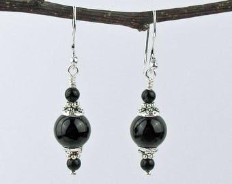 Dangle Earrings, Black Onyx Beads, Semi Precious Stones, Jet Black, Decorative Bead Caps, Silver Wire, Dramatic Earrings, Fashion Jewelry