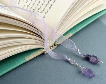 Ribbon Bookmark, Amethyst Crystals, Jeweled Pendants, Lavender Ribbon, Silver, Wire Wrapped Pendants, Book Lovers Gift, Teachers, Handmade