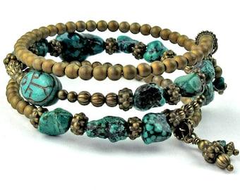 Memory Wire Bracelet, Natural Turquoise, Semi Precious Stones, Egyptian Scarabs, Gemstone Bracelet, Multi Strand, Egyptian Symbolism, Gift