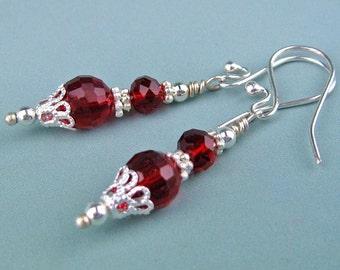Crystal Earrings, Garnet Glass Crystal, Dangle Earrings, Ruby Red, Silver Wire, Silver Beads, Handmade, Elegant Gift, Fashion Earrings, Gift