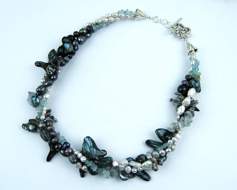 Exquisite Necklace Pearl Necklace Teal Silver Keishi Pearls Aquamarine Crystals Baroque Pearls Handmade Twisted Strands Silver Beads