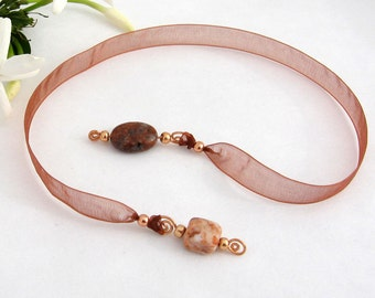 Jeweled Ribbon Bookmark, Jasper Semi Precious Stones, Rust Organza Ribbon, Copper Wire Wrapped Pendants, Gift for Book Lovers, Handmade