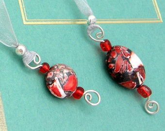 Ribbon Bookmark, Jeweled, Red Mosaic Stone, Semi Precious Stones, Organza Ribbon, Wire Wrapped Charms, Gift for Book Lovers, Librarians