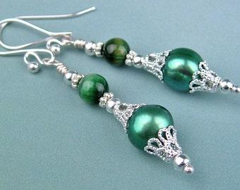 Freshwater Pearl, Dangle Earrings, Tiger Eye, Semi Precious Stones, Seafoam Green, Silver Wire, Silver Beads, Handmade, Elegant Gift for Her