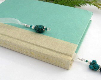 Jeweled Bookmark, Turquoise, Australian Jade, Semi Precious Stones, Silver, Organza Ribbon, Wire Wrapped Charms, Gift for Booklover, Natural