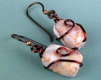 Dangle Earrings, Marbled Jasper, Semi Precious Stones, Wire Wrapped, Mahogany Copper Wire, Swirls Spirals, Peach Marbling, White, Handmade