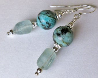 Aquamarine Earrings, Aquamarine Crystals, Turquoise Beads, Semi Precious Stones, Silver Beads, March, December Birthstone, Natural Organic