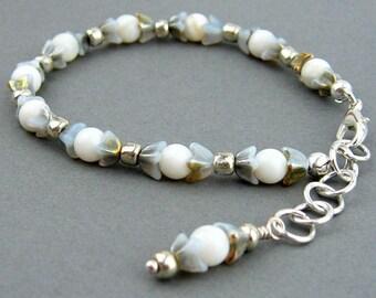 Vintage Czech Glass Bracelet, Flower Beads, Moonstone Semi Precious Stones, Silver Plated Wire, Handmade, Wedding Bracelet, Gift, Delicate