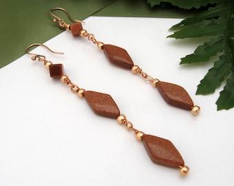 Goldstone Dangle Earrings, Copper Wire, Sparkling Copper, Long, Elegant Gift, Handmade, Shimmery Highlights, French Hook Copper Earwires