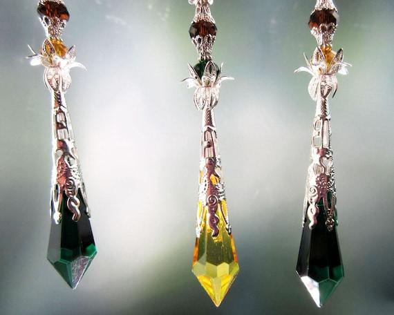 Crystal Suncatcher Meditation Tool Autumn Tones Home Decor Handmade Hanger Glass Crystal Prism Icicle Ornament Silver Green Golden