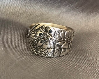Hollyhock Flower Spoon Ring Summer Floral Ring Sterling Silver Art Nouveau Symbolic Abundance and Survival in Hard Times