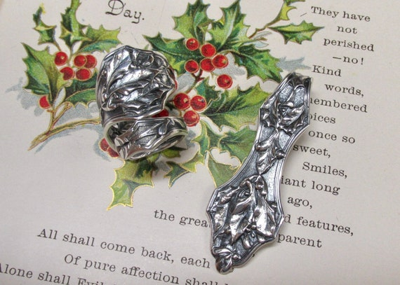 Sale Holly Leaves And Mistletoe Sterling Spoon Ring Art Etsy