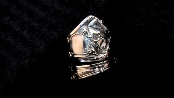 Maple Leaf Spoon Ring Sterling Silver Tree Ring Symbolic Etsy