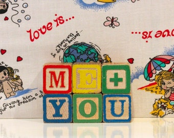 Vintage Me And You Wooden Blocks Kitsch