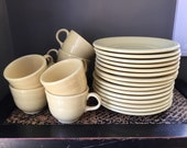 Vintage Fiesta ware, Homer Laughlin, salad plates and cups, timeless, newer yellow P86, discontinued