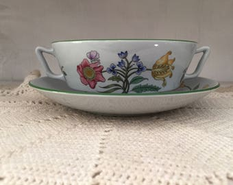 Spode Summer Palace, soup bowl and saucer, handles, Fine Stone, England, floral, dinnerware, english cottage, shabby chic