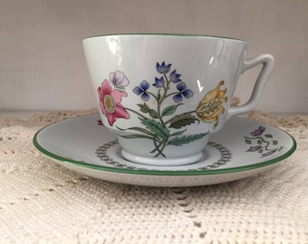 Spode Summer Palace, tea cup and saucer, Fine Stone, England, tableware, floral, dinnerware, english cottage, shabby chic