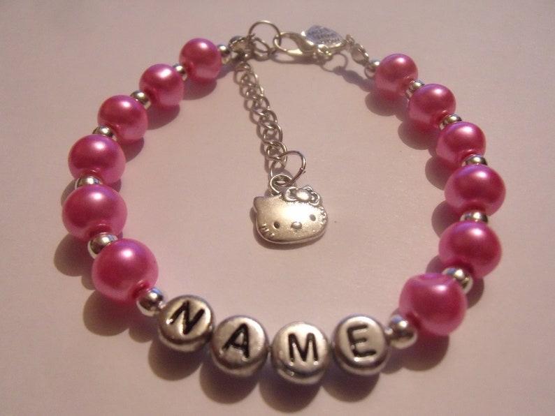 eff6792f5 Personalised Hello Kitty Bead bracelet | Etsy