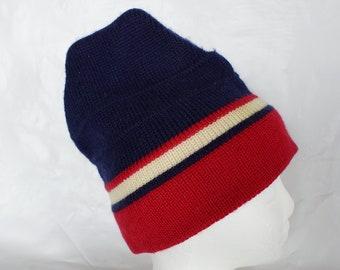 50d25c7730d Vintage MEISTER Ski Winter Red White   Blue Hat Wool Retro Patriotic
