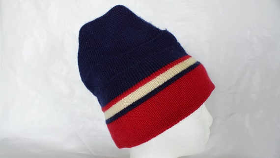 Vintage MEISTER Ski Winter Red White   Blue Hat Wool Retro  41a12a15623