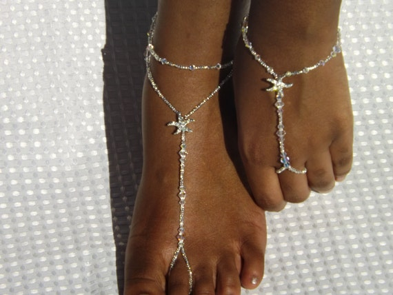 9045f0f8ae7 Swarovski Crystal Starfish Beach Wedding Barefoot Sandals Foot