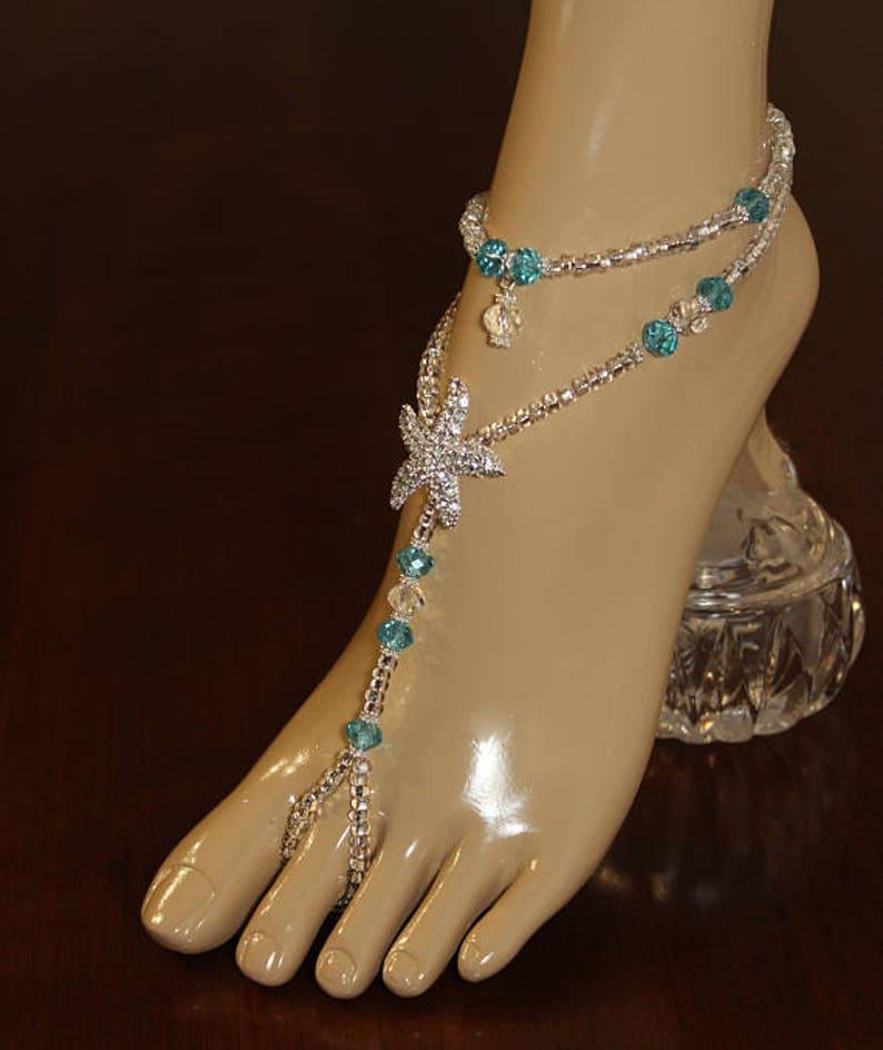 Barefoot Sandal Beach Wedding Something Blue Jewelry