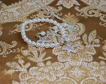 Bridal Jewelry Swarovski Pearl Rhinestone Starfish Wedding Bridesmaids Gift Set Bride Bracelet Bride Earrings Bride Necklace