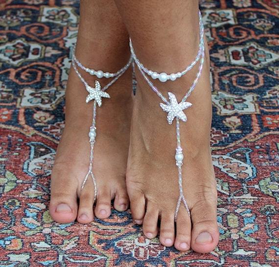 Barefoot Beach Sandals Bridal Wedding Rhinestone Anklet Foot Chain Jewelry CYN
