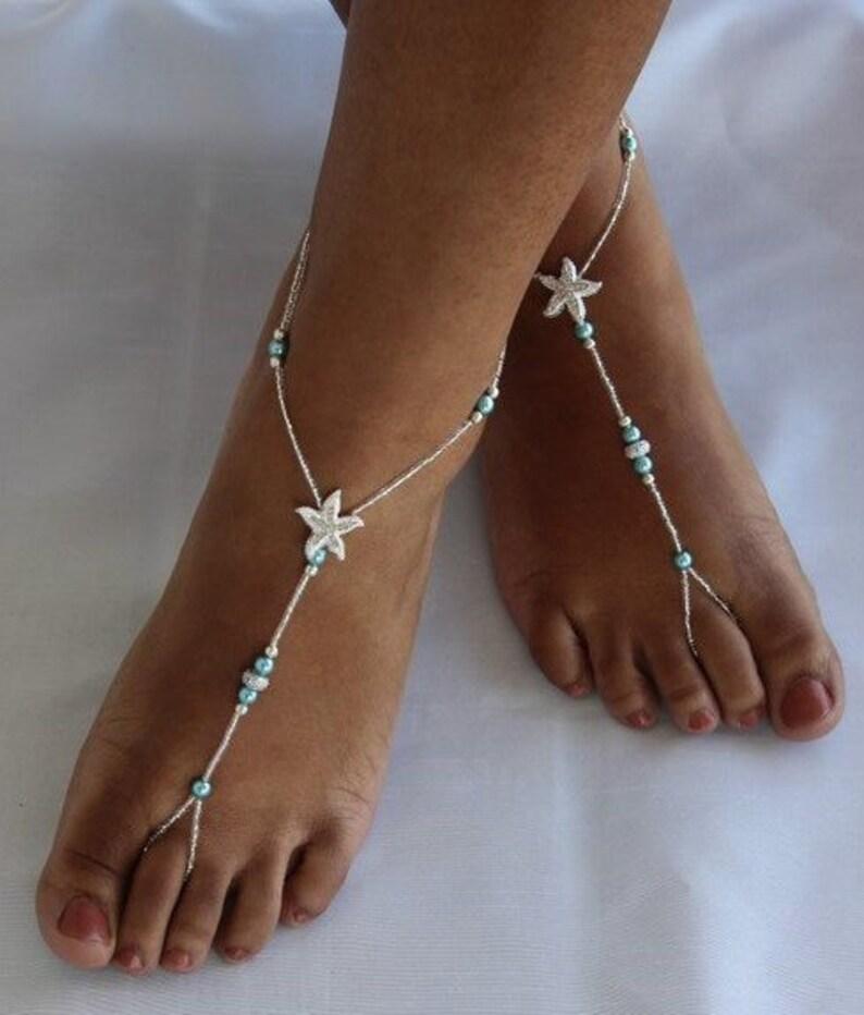 827efe39e27b Teal Barefoot Sandals Starfish Barefoot Sandals Wedding Beach