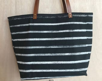 Block Printed Ivory Stripes Carry-All Canvas Tote Bag
