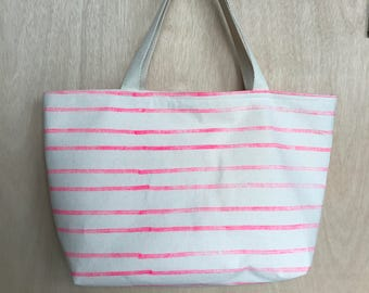 Block Printed Pink Stripes Carry-All Canvas Tote Bag