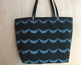 Block Printed Blue Waves Carry-All Canvas Tote Bag