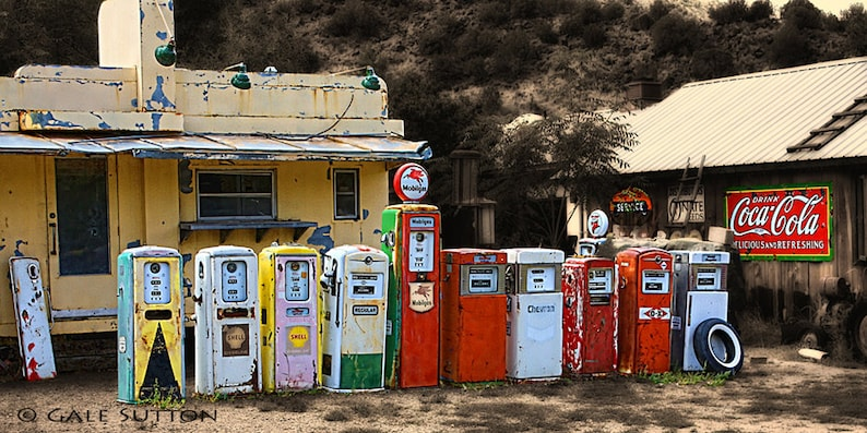 Classical Gas, Fine Art Photo, Route 66 Art, Old Gas Pumps, Retro,  Americana, Gift for Guys, Red, Yellow, Toned Photo, Wall Art, Home Decor