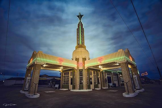 Art Deco gaz Route 66 station-service Conoco gaz Conoco | Etsy
