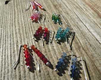 Ombre Swarovski Crystal Sterling Silver Earrings