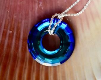 Bermuda Blue Swarovski Disk Sterling Silver Necklace