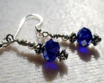 Sapphire Blue AB Crystal Sterling Silver Dangle Earrings