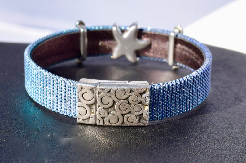 Periwinkle Iridescent Leather Anklet and Bracelet with Silver Flamingos /& Starfish