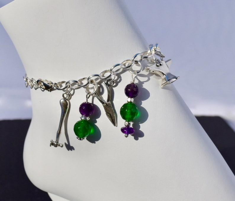 Sterling Silver Metalsmith Tools Charm Bracelet with Natural Emerald /& Amethyst 6 Inch with 1.5 Ext