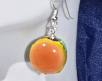 Cheeseburger glass dangle earrings