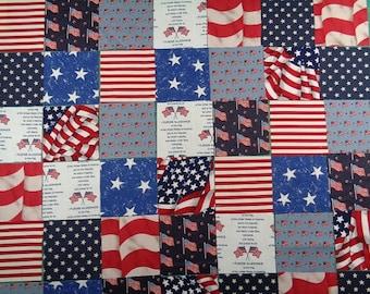 Patriotic 3.5 Precut Cotton Squares,42 Red,White,Blue Cotton Squares - FREE SHIPPING