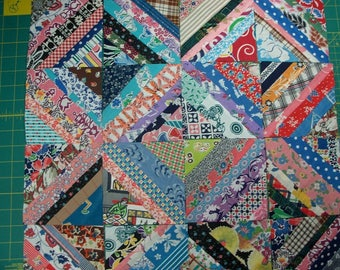 """Strip Pieced 5"""" Vintage Feedsack,30s,40s Fabric Squares - FREE SHIPPING"""