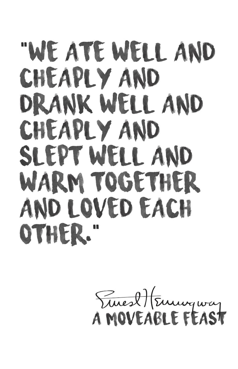 Ernest Hemingway Watercolor Love Quote Print A Moveable Feast Etsy