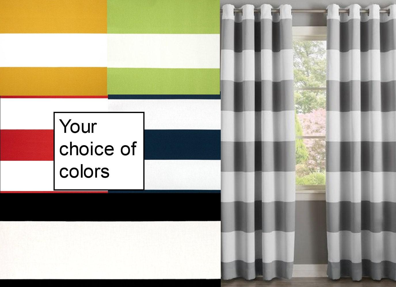 rideau bande horizontale vente rideaux rideaux design etsy. Black Bedroom Furniture Sets. Home Design Ideas