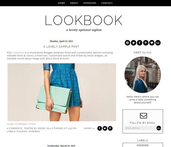 items similar to blogger template premade blog design lookbook