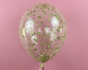 Metallic Gold Confetti Balloon - 11 16 24 36 inch size - Christmas New Years Eve party bachelorette wedding bridal shower birthday