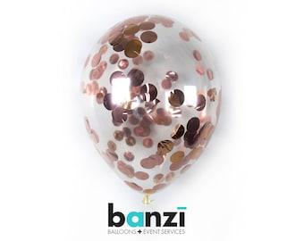Rose Gold Confetti Latex ballon - disponible 11 16 24 36 pouces taille NYE anniversaire fête bachelorette mariage nuptiales de douche