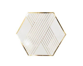 White Metallic Gold Hexagon Small Party Plates - pack of 8 - NYE New Yeares Eve Christmas paper plates birthday wedding shower Harlow & Grey