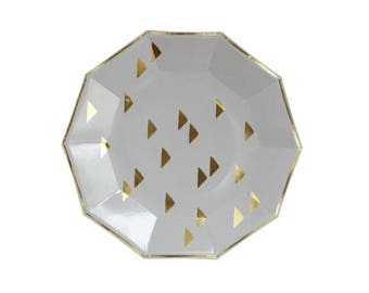 Grey Gold Triangles Decagon Paper Plates - pack of 8 - metallic gold grey dinner plates birthday wedding shower tribal boho Harlow & Grey
